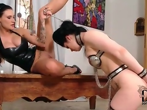 Sub girl in metal chastity lingerie submits
