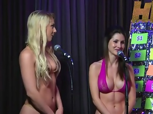Sexy bikinis girls try a game show on radio