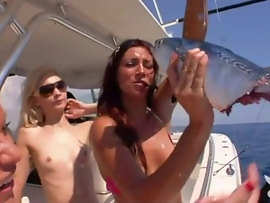 Naked girls on a boat and skiing look sexy