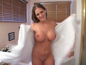 He fondles horny slut with fake tits for fun