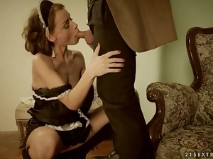 Beautiful French maid gives head and bends over