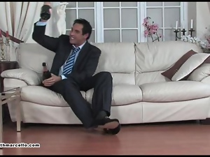Drunk Stud Marcello receives blowjob and wank by horny fetish burglar