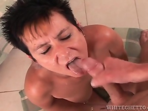 Milf cocksuckers rewarded with facial cumshots