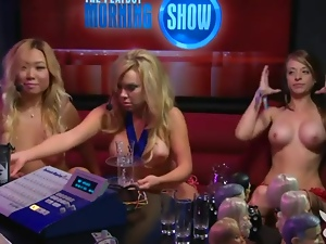 Red lingerie girl gets naked on the radio show