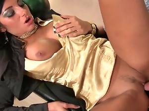 Slut in gold satin blouse fucked in bowling alley