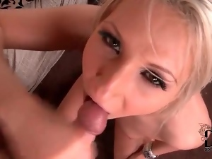 Blonde swallows cock and he makes her cum