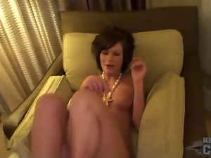 Naked girl in hotel room with sexy little tits