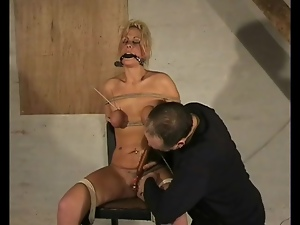 Tied and gagged girl buzzed by a toy