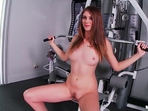 Girl takes a naked walk on the treadmill