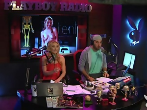 Topless blonde radio host chats with sexy chicks