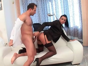 Stockings and blouse on chick grinding on his cock