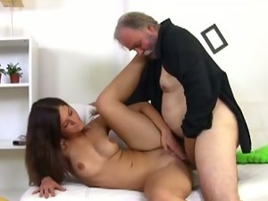 Cute alyona fucks older guy