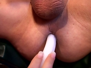 Hot blonde candlefucks asshole