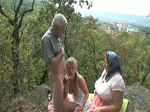 Granny and teenie share cock