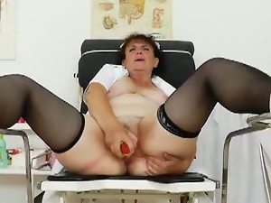 Horny granny nurse toys herself