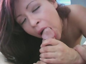 Busty brunette misty demonstrates blowjob