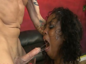 Ebony hydie gets her mouth and ass fucked roughed.
