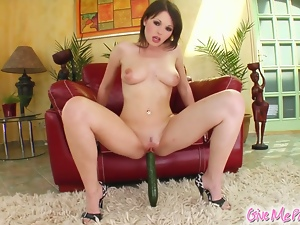 Sexy brunette teases and masturbates for you