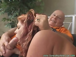 Busty redhead milf gets banged from both ends