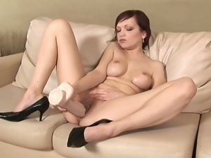 Russian babe tina riding white brutal dildo.