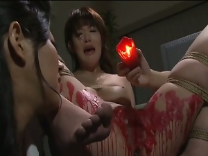Hot wax torture for lovely japanese babe.