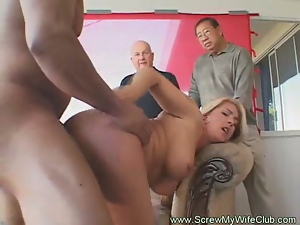 Blonde milf gets banged in front of her husband