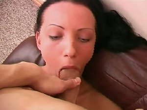 Cute brunette throatfucked