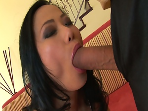 Asian milf snatch nailed with a massive cock