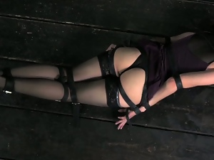 Cute girl with curly hair restrained and spanked
