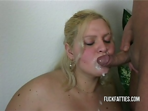 Blonde fat slut takes cocks from both ends