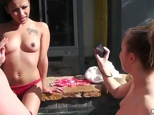 Hot threesome by the pool with two sex dolls