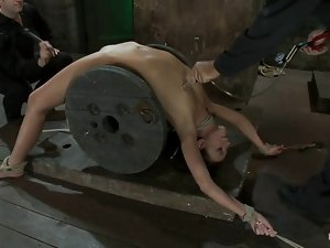 Arched sex slave is getting her nipples tied up