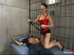 Blonde hottie Audrey Leigh punishes and fucks Ricosf in a jail