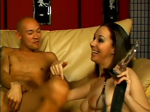 Ann Parker gets her hairy pussy pounded by two bisexual men