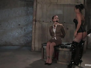 Sara Faye gets poured with wax and toyed by Sandra Romain