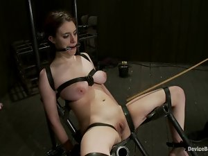 Blindfolded siren gets a lot more than just a device bondage
