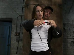 Superb Amber Rayne gets tied up and fingered deep