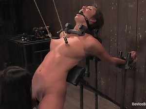 The iron bars squeeze her neck and her nipples are sore too