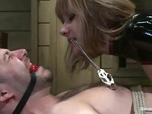 Tied up and blindfolded David Chase gets his ass toyed