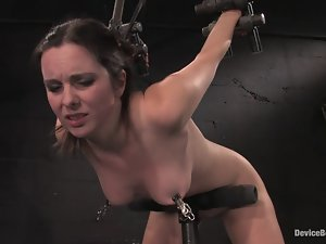 Winter Sky gets her snatch fisted and her ass spanked in BDSM scene