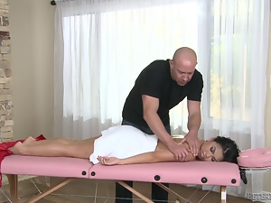 Petite Cindy Starfall gets massaged and then pounded