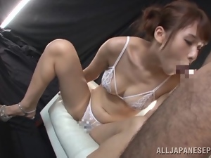 Yui Ooba drives a man crazy with blowjob and rimjob combo