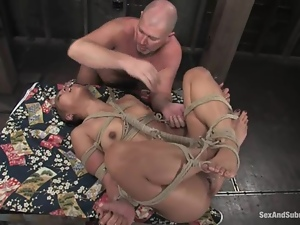 Bald Asian sex doll Max is getting tortured and penetrated