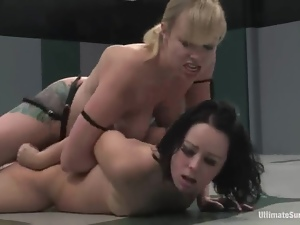 Brunette girl gets toyed rough by a blonde after fighting