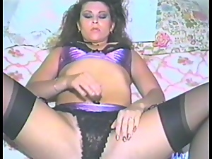 Retro lady is masturbating her hot and hairy cunt