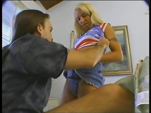 Bad Blonde with Gray Panties Shows Her Vigorous Side