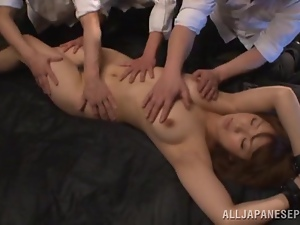 Oiled up Asian girl gets fucked in hard in a prison cell