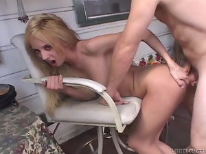 Passionate Kelly Wells rides big cock in a backyard