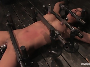 Tia Ling gets her Asian pussy pumped and toyed in a basement
