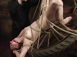 Nasty Sasha Lexing enjoys being whipped in a basement